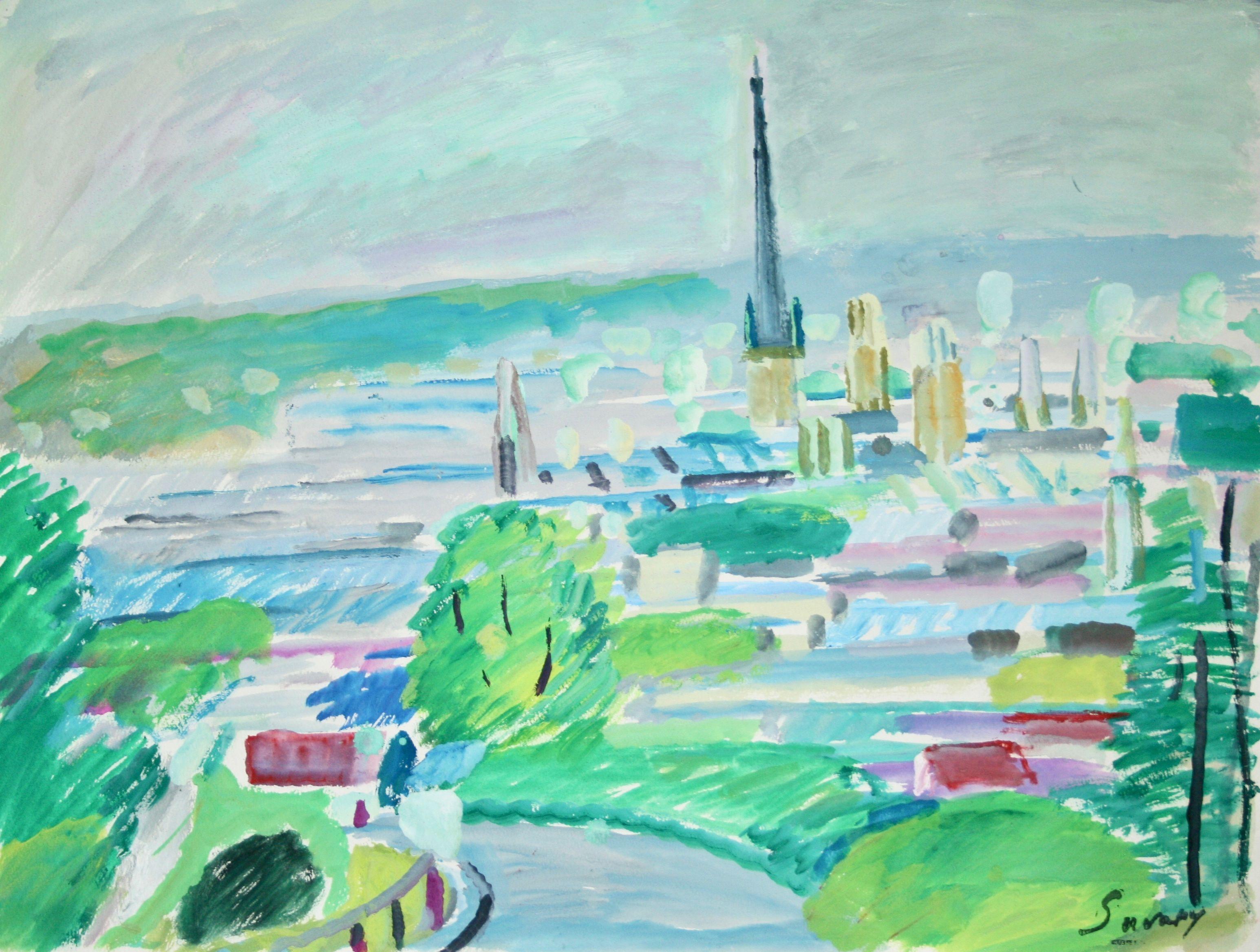 Peintres Ecole De Rouen robert savary - peinture originale - gouache - vue de rouen