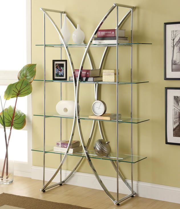 Metal And Glass Book Shelf Display Unit Glass Bookcase Glass