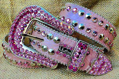 bb-Simon-Western-LEATHER-Belt-Pink-Swarovski-Crystals-BLING-Rhinestone-Studs
