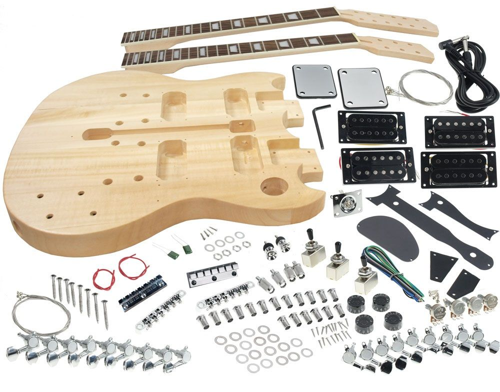 Solo Dsgk 10 Diy Double Neck Electric Guitar Kit Solo Music Gear Guitar Kits Electric Guitar Kits Build Your Own Guitar