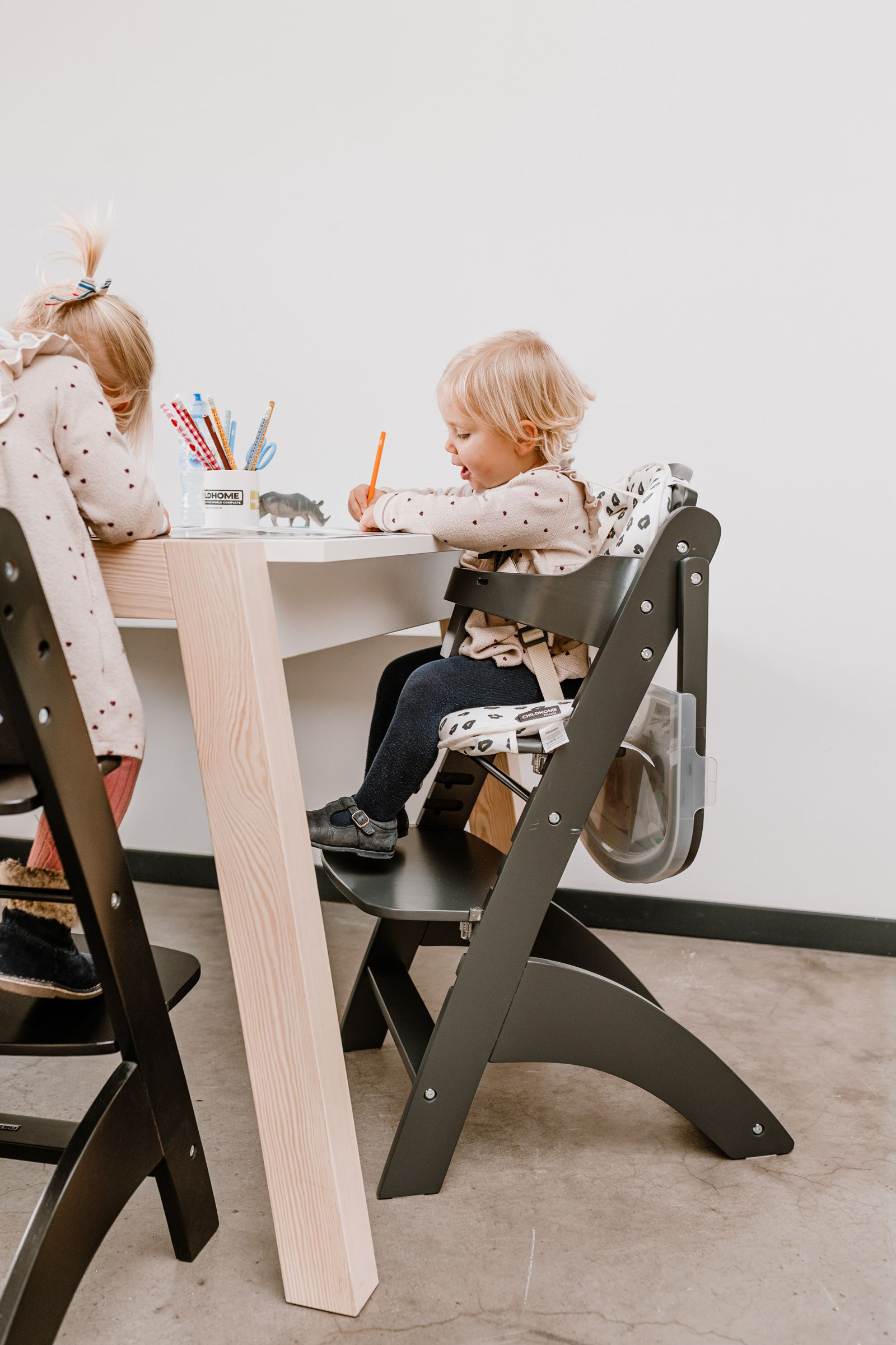Lambda 3 Baby High Chair + Feeding Tray Wood Anthracite