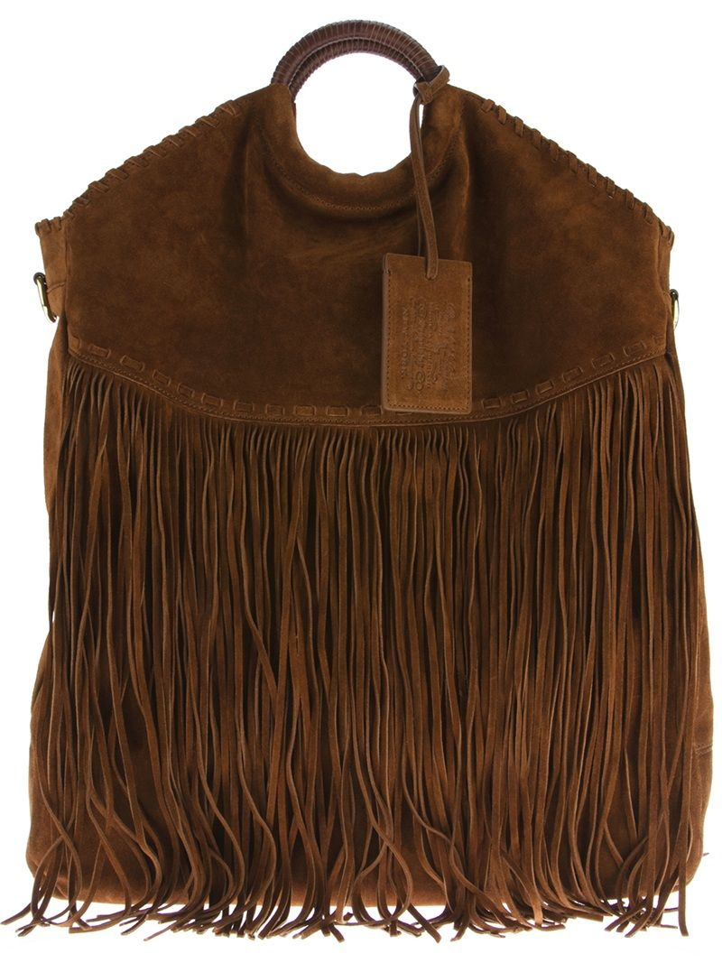 Ralph Lauren brown fringe bag  Unique Boho Style  30857e6e01fb9