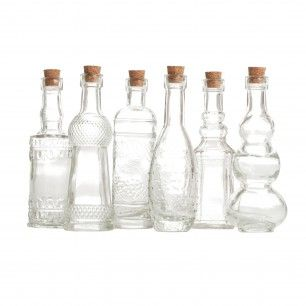 "Wholesale Decorative Glass Bottles 45"" Clear Glass Bottle Assortment 12 Bottles For Oils  Food I"