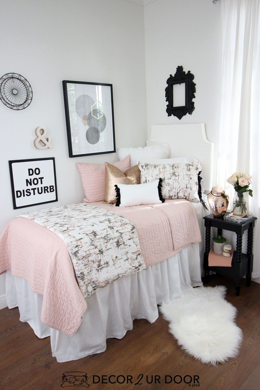 Blush Rose Gold Marble Dorm Bedding Set Pink Dorm Rooms Dorm Room Designs Girls Dorm Room