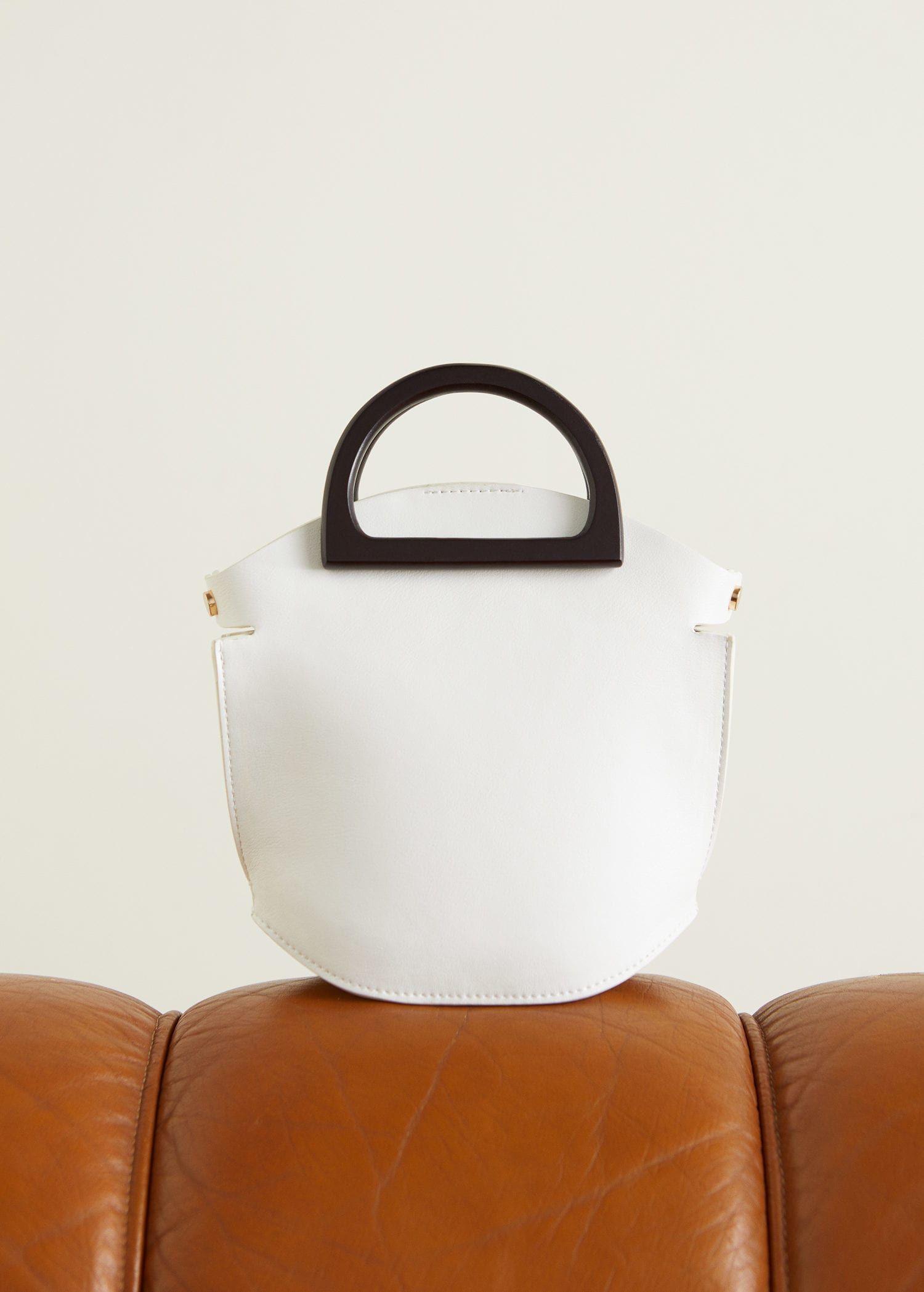 fabd136758d1c Tahta saplı mini çanta - Kadın | White | Bags, Mini Bag, Wooden handles