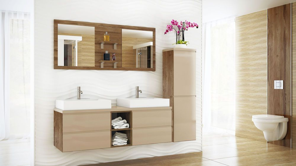 Badmobel Set Bonita Ii Badmobel Mit Doppelwaschbecken Badezimmermobel Mdf Badezimmerideen Minimalistisches Badezimmer Doppelwaschbecken