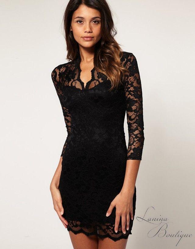 ASOS Black Lace Scallop Neck Bodycon Dress Sz 6 8 10 12 14 BNWT ...