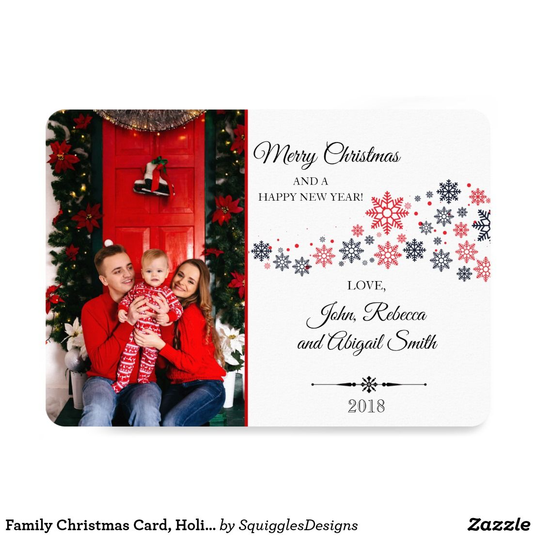 Family Christmas Card Holiday Photo Greeting Card Zazzle Com