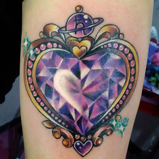 purple crystal heart tattoo crystal diamond heart
