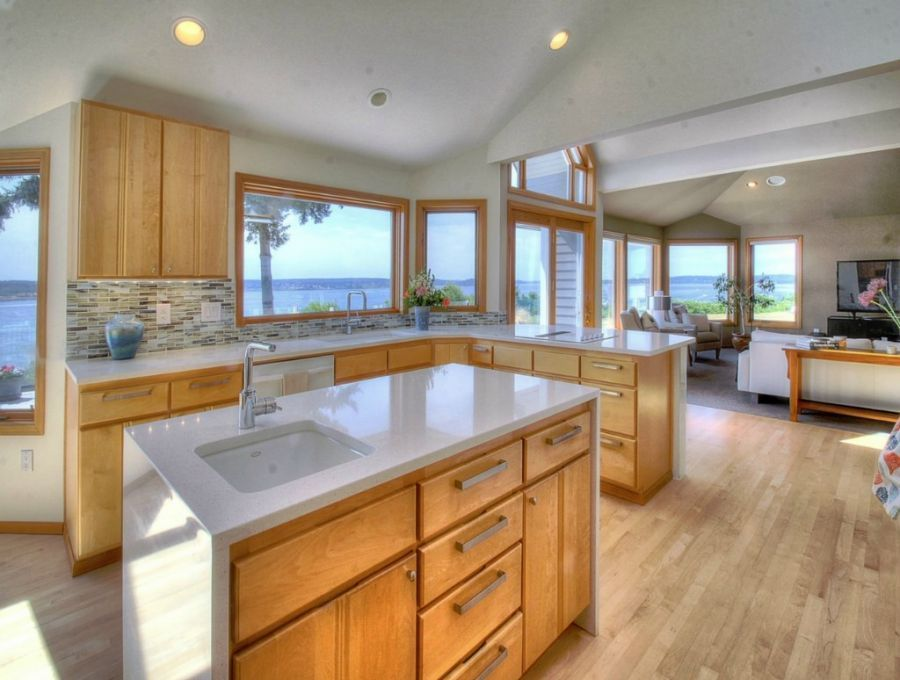 Contemporary Kitchen with Bellmont Cabinets- Metro, flush ...