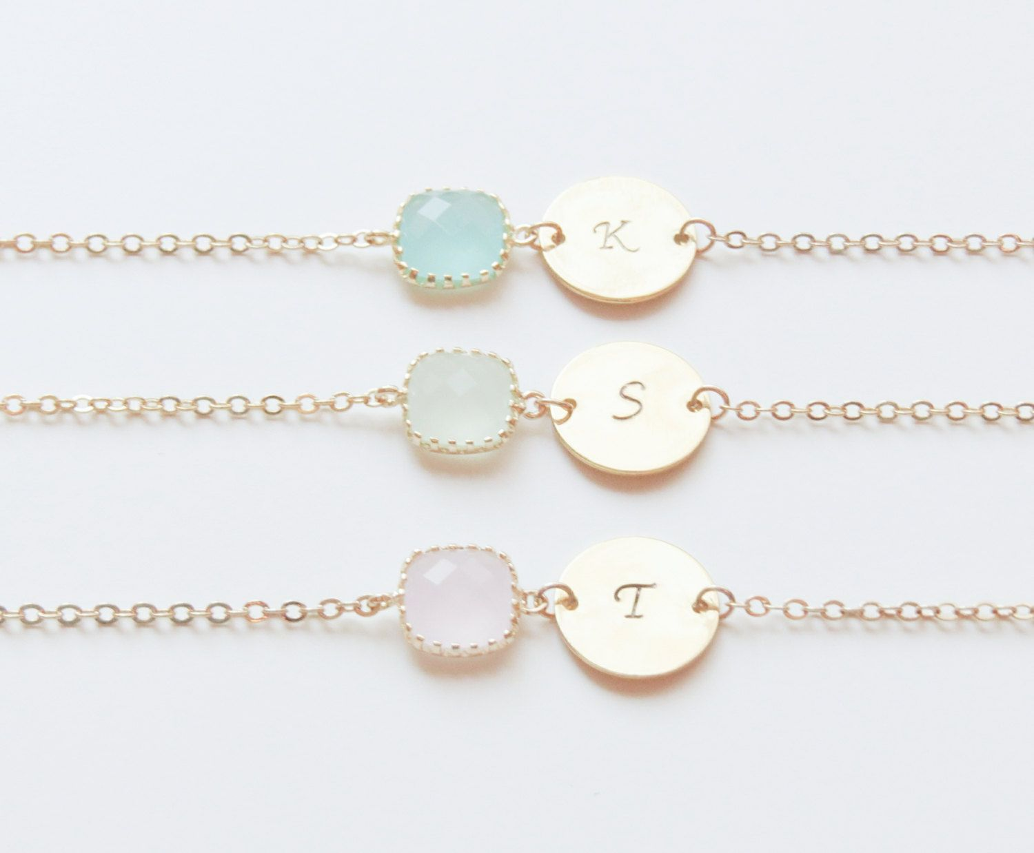 Personalized Bracelets | Birthstone & Initial Bracelet | Birthstone Bracelet | Initial Bracelet | Bridesmaids Bracelets | Christmas Gift by SweetheartJewelryBox on Etsy
