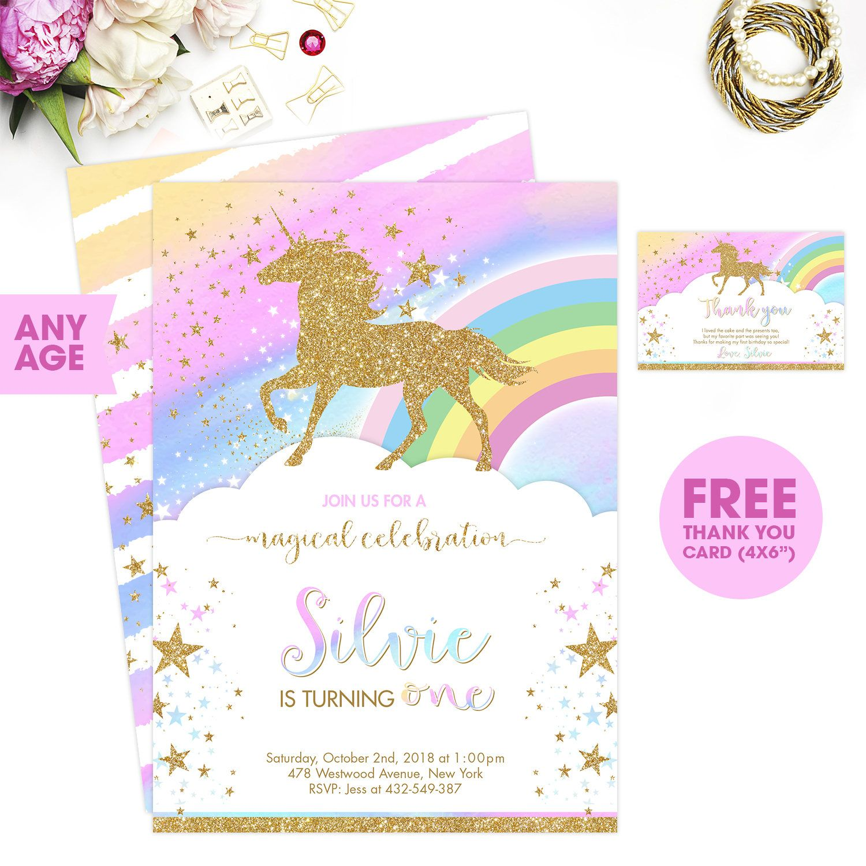 Unicorn Birthday Invitation Printable