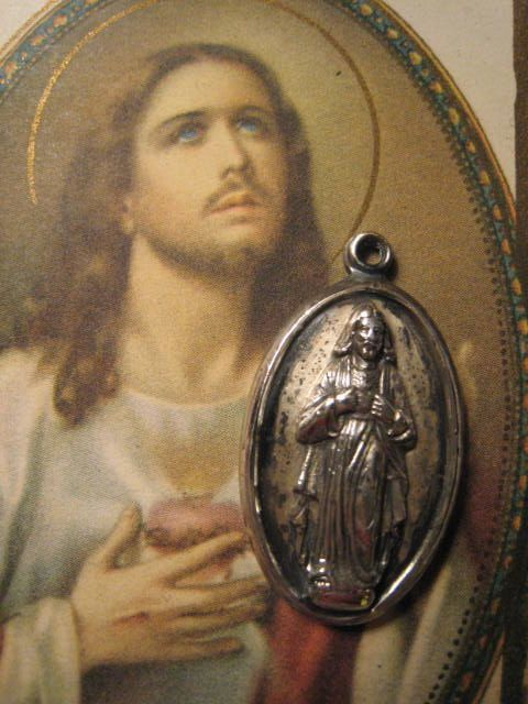 Vintage Sacred Heart Religious Medal Pendant Sterling by Glamaroni, $48.00