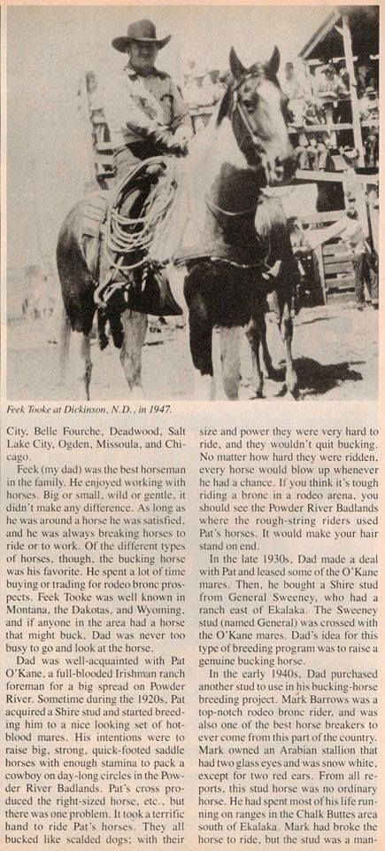"""Feek Tooke's Rodeo Broncs"", old article from ""Western Horsmean"", page 2."