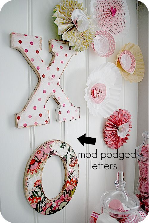 mod podge letters hung with 3M command strips
