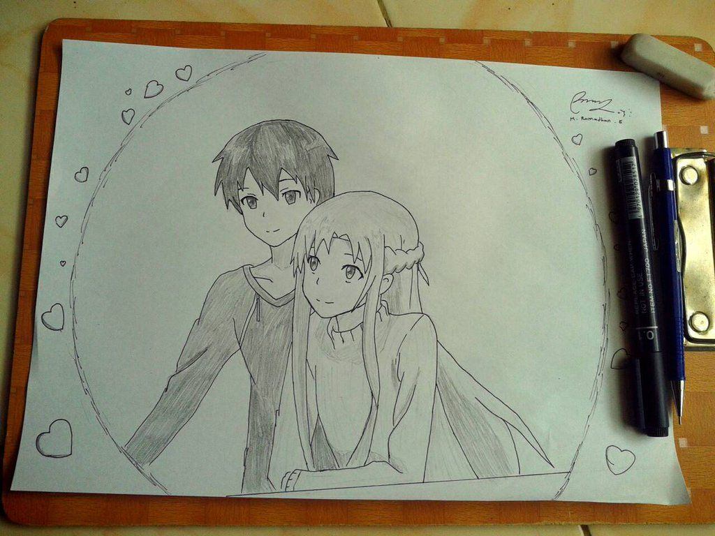 Anime pencil art sword art online by ramburger7 on deviantart