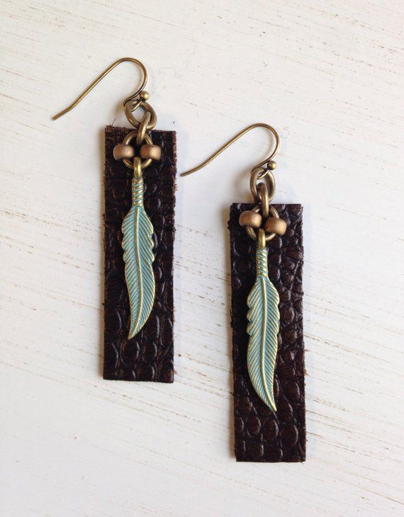 Boho Earrings Leather Feather Earrings Bohemian Earrings Boho Jewelry Tribal Leather Bar Earrings Birthday Gift Girlfriend Gift for Her