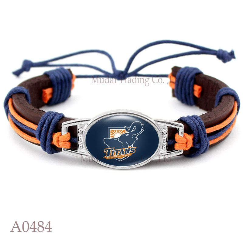 10 Pcs Lot Cal State Fullerton Ans Adjule Leather Cuff Bracelet For Athletic