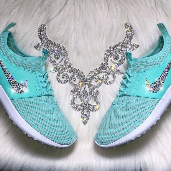Swarovski Nike Juvenate Shoes In Tiffany Blue Authentic Women s Nike  Juvenate Shoes in Artisan Teal (Tiffany Blue). Outer swooshes are encrusted  with ... cb74ca2b1d