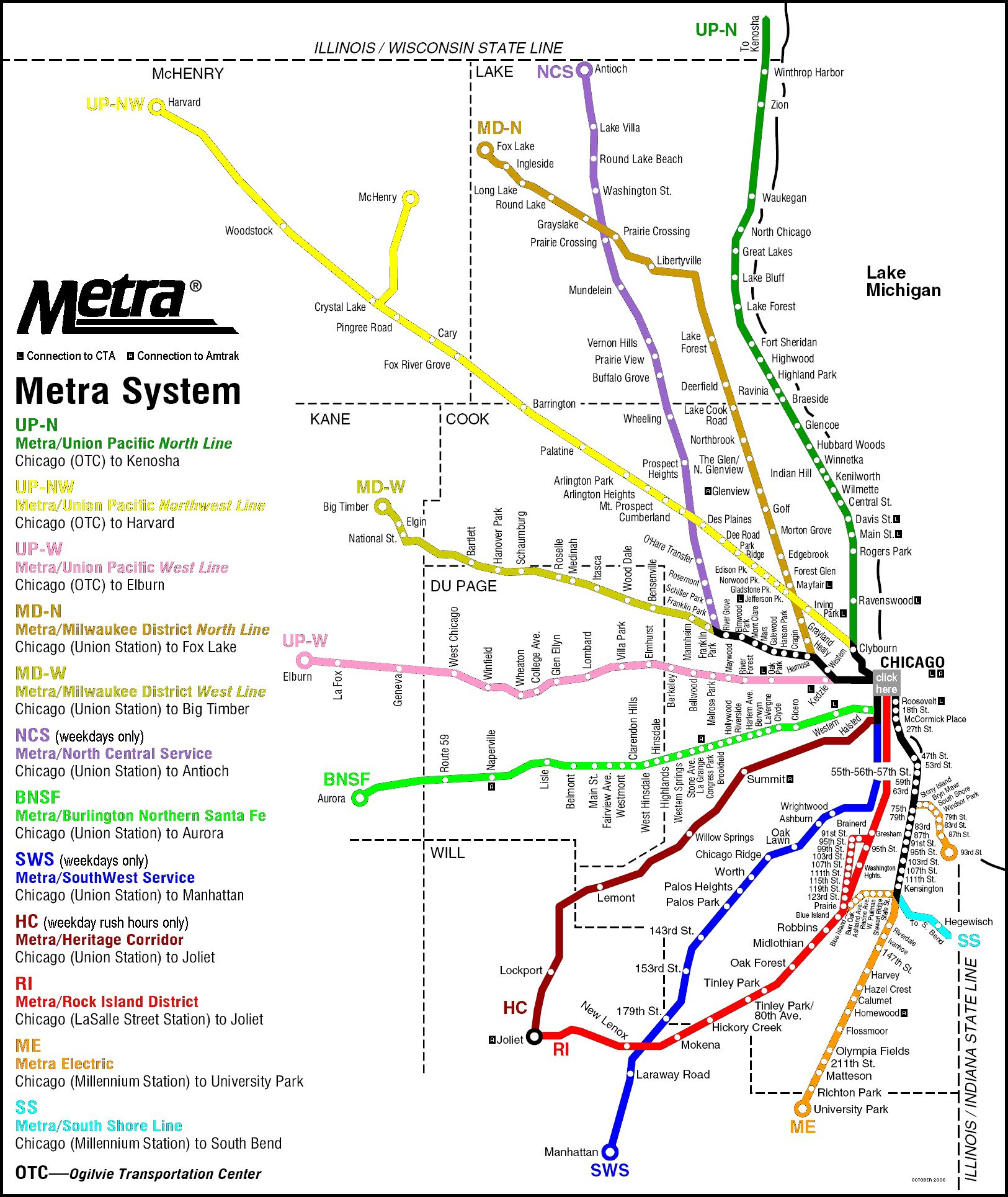 Metra Rail Map, Chicago Illinois. | Chicago via Charleston in 2019
