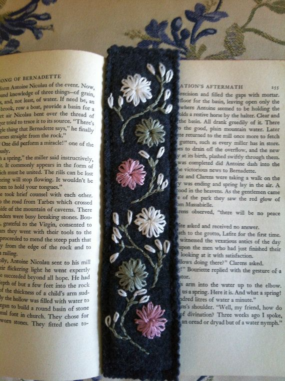 Bookmark Gray Felt Embroidered Flowers and Stems by SheikSewing, $10.00