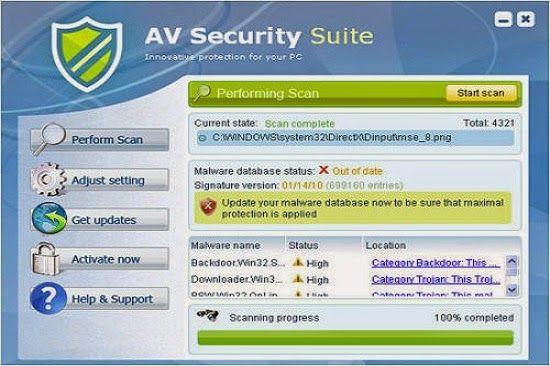 AV Security Suite est une application gênant et ransombare de même groupe que