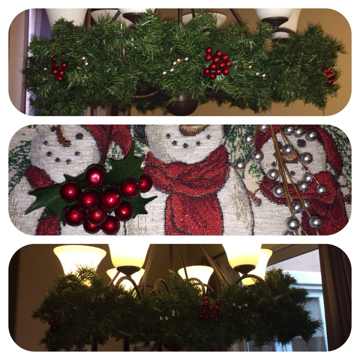 Christmas chandelier- I used 2 garlands from Michaels  the berries - Hobby Lobby Halloween Decorations