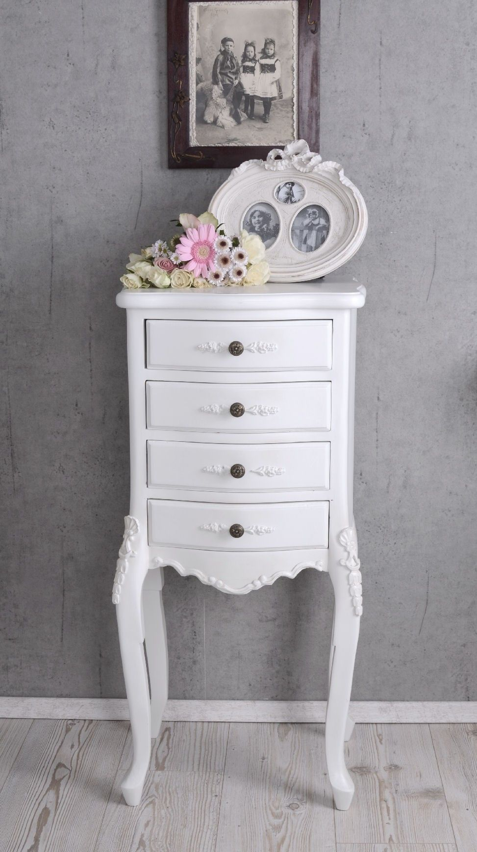 nostalgie kommode weiss schubladenschrank shabby chic. Black Bedroom Furniture Sets. Home Design Ideas