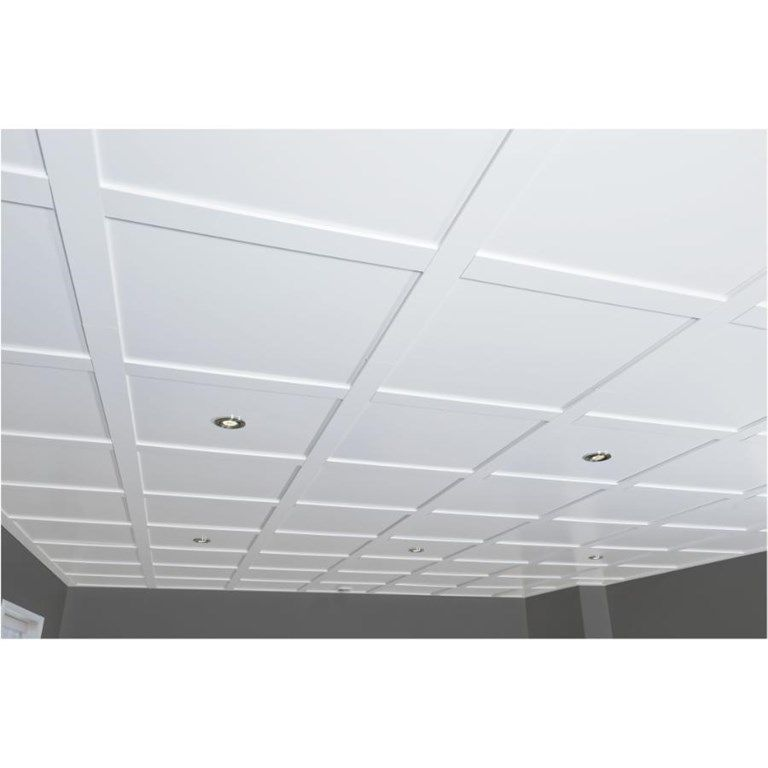 4 Pack 2 X 2 Embassy White Ceiling Panels Home Hardware Modern Ceiling Tile Basement Remodel Ceiling Suspended Ceiling