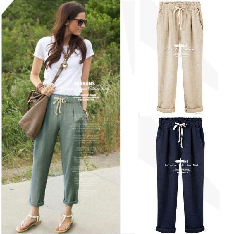 New Girl Pants Women S Cotton Linen Elastic Waist Trousers High