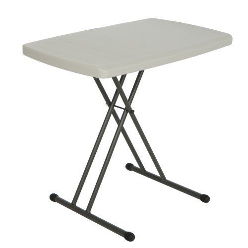 Lifetime 28240 Height Adjustable Folding Personal Table 30 by 20 Inch Almond