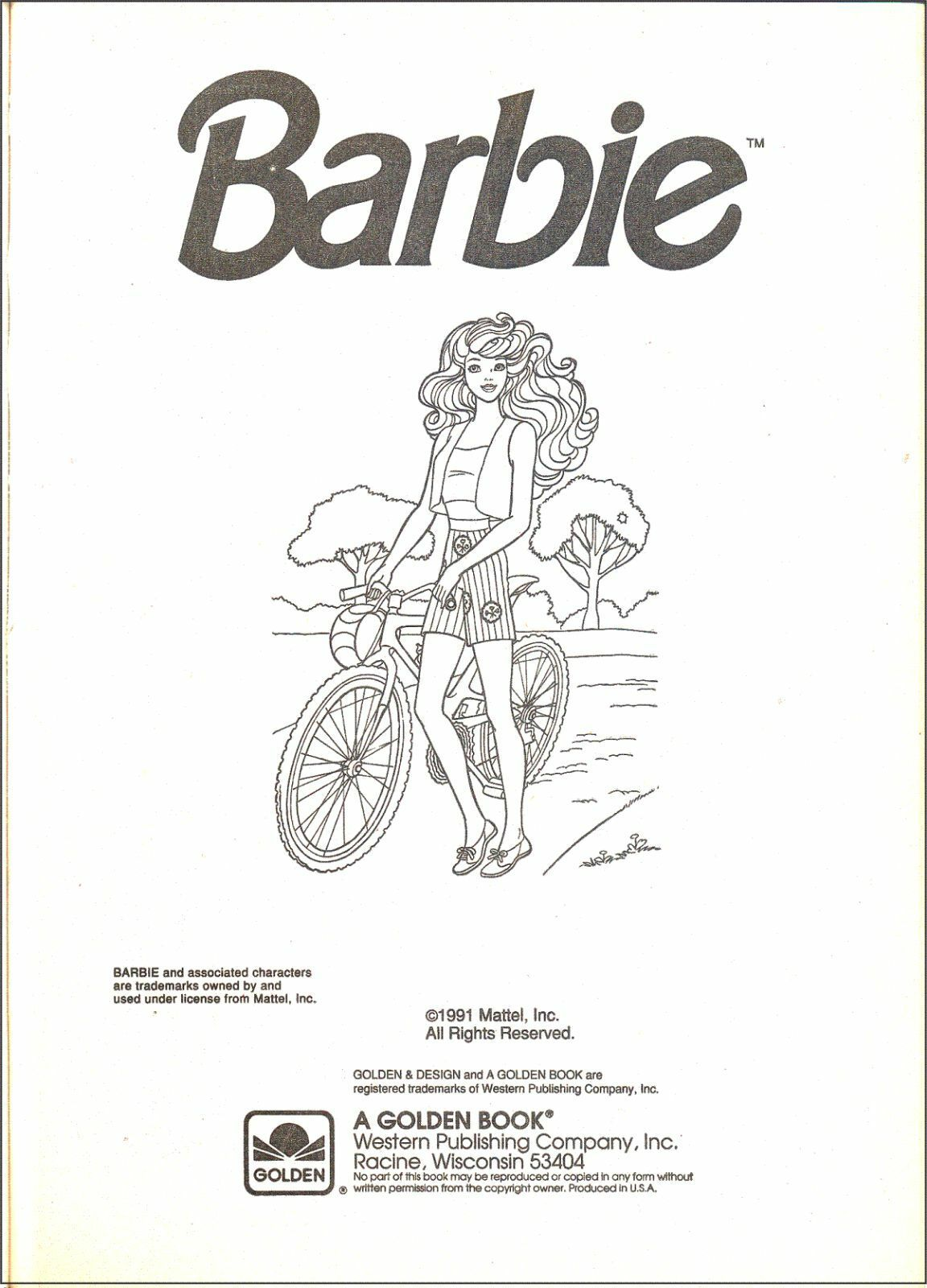 Vintage 1991 Barbie Giant Color Activity Book By Golden 3 Barbie Coloring Pages Barbie Coloring Barbie