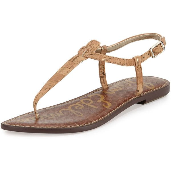 d7fed5117977 Sam Edelman Gigi Flecked Cork Flat Thong Sandal (€69) ❤ liked on Polyvore  featuring shoes