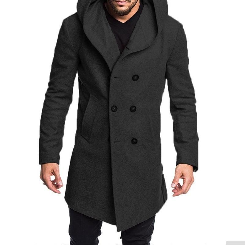 Mens Autumn Winter Casual Hooded Pocket Trench Long Sleeve Outwear Coat Tops