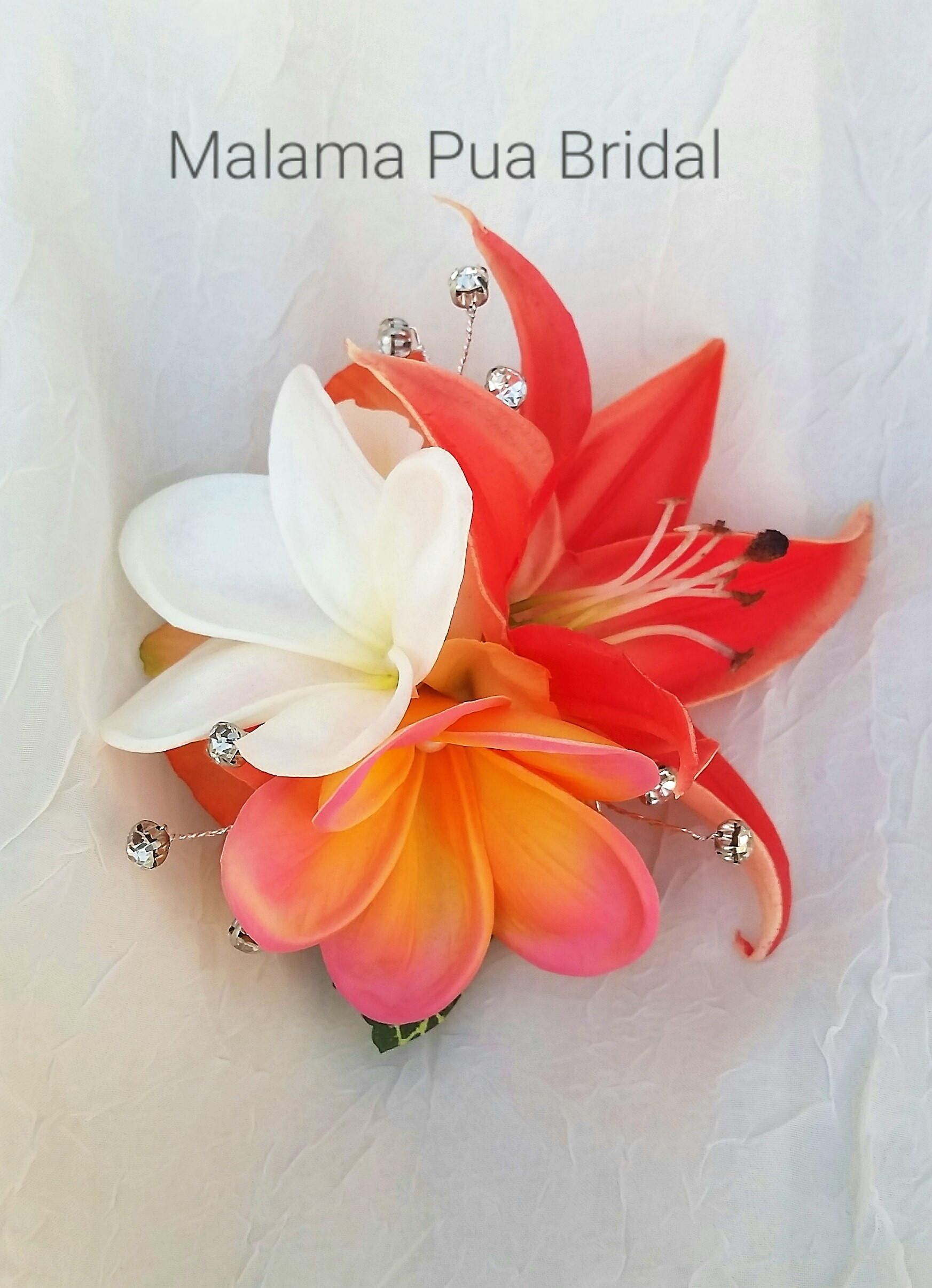 Tropical Hair Flower Real Touch Coral Lily Plumeria Bridal Etsy Flowers In Hair Hawaiian Wedding Flowers Hawaiian Hairstyles
