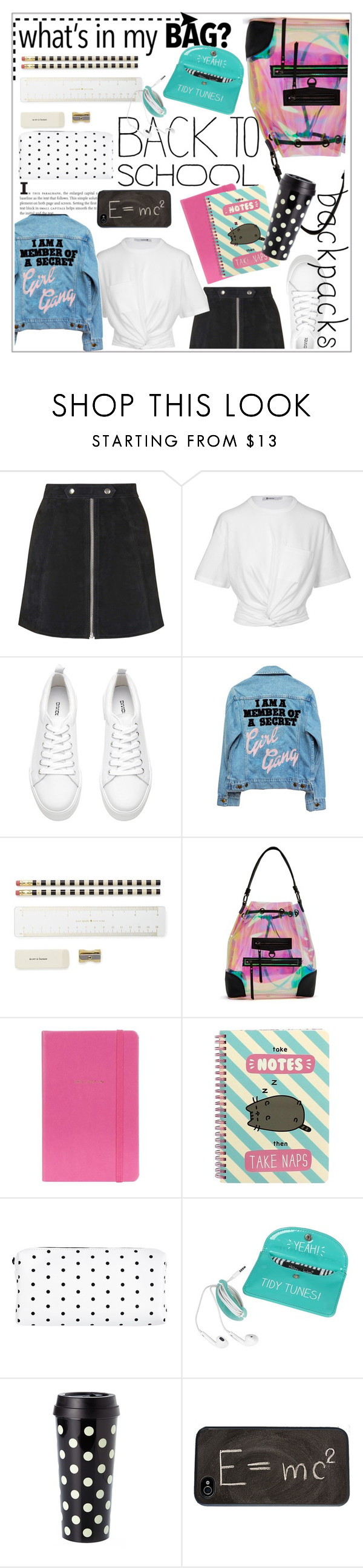 """""""In My Backpack"""" by bombaysapphire ❤ liked on Polyvore featuring Topshop, T By Alexander Wang, H&M, High Heels Suicide, Kate Spade, Nila Anthony, Pusheen, Theory, BackToSchool and casual"""