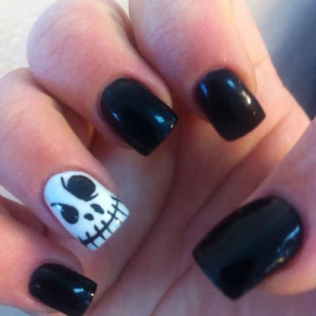my jack skeleton nails - perfect for halloween OR jack fans. SO easy ...