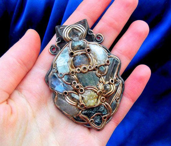 flashy natural gemstone 5-stone Herkimer Diamond and Brass Necklace 18