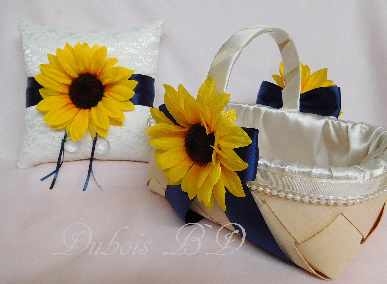 Sunflower ring bearer pillow and Flower girl basket, Ring