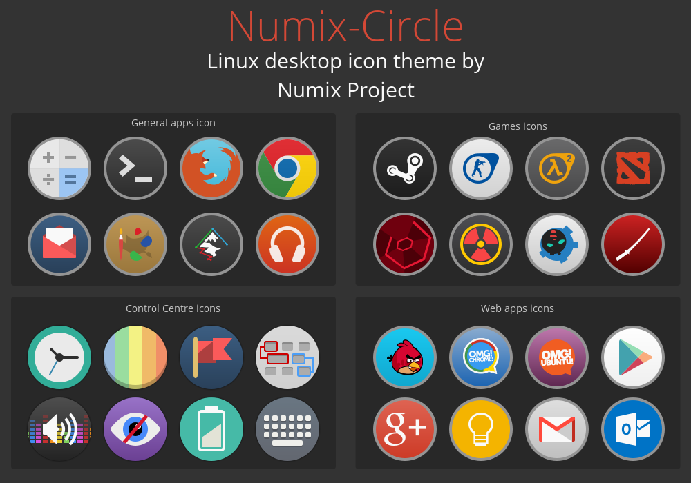 Numix-Circle Linux Desktop Icon Theme by me4oslav deviantart