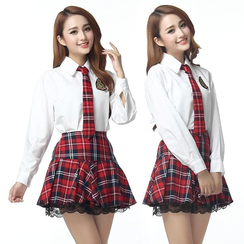 e3925c3214c Hot Sale New High College Girl School Uniform Sailor Uniform Japan Korea  Long Sleeve Shirt Plaid