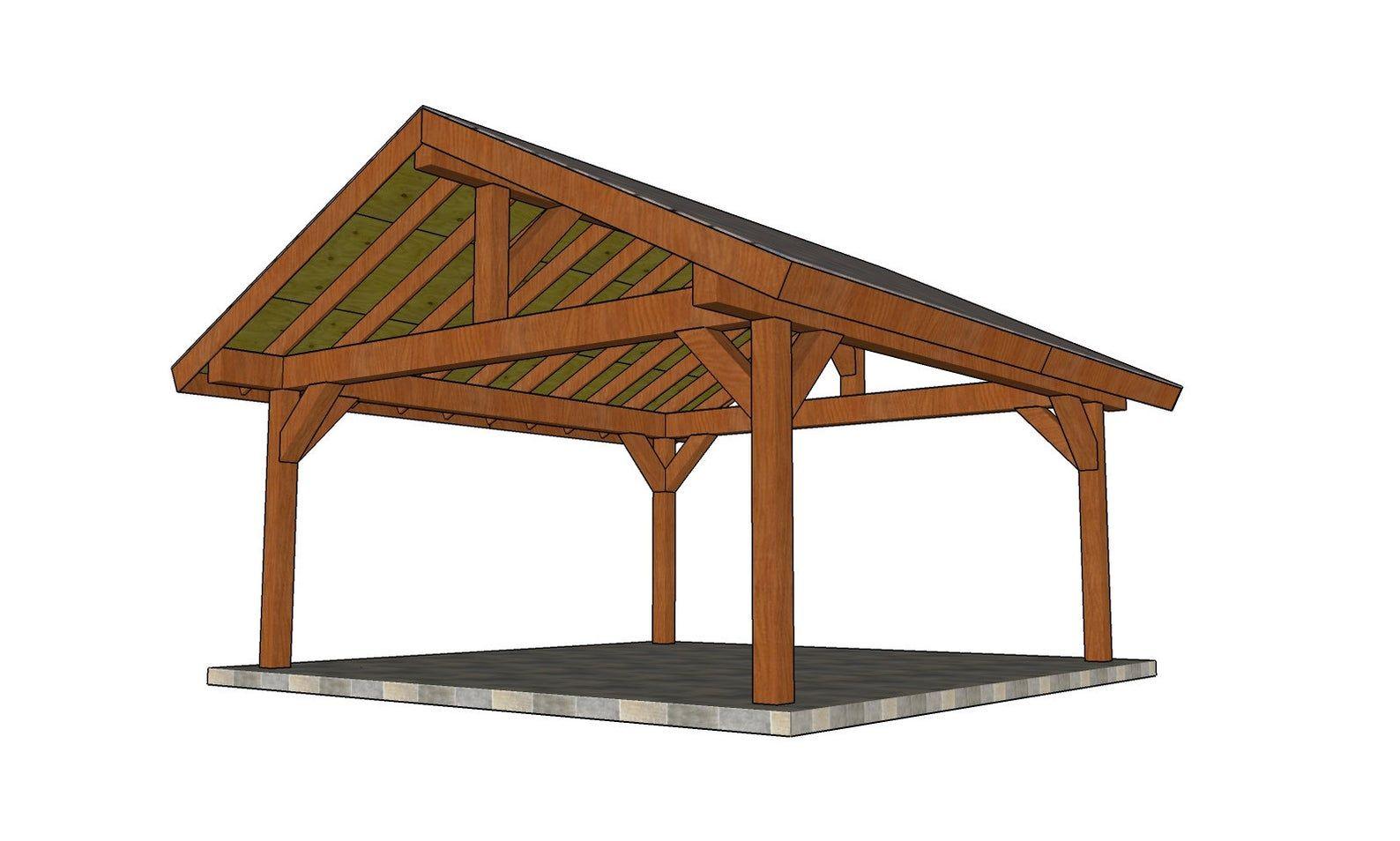 18x18 4 Post Gable Pavilion Plans Etsy Pavilion Plans Patio Plans Backyard Pavilion