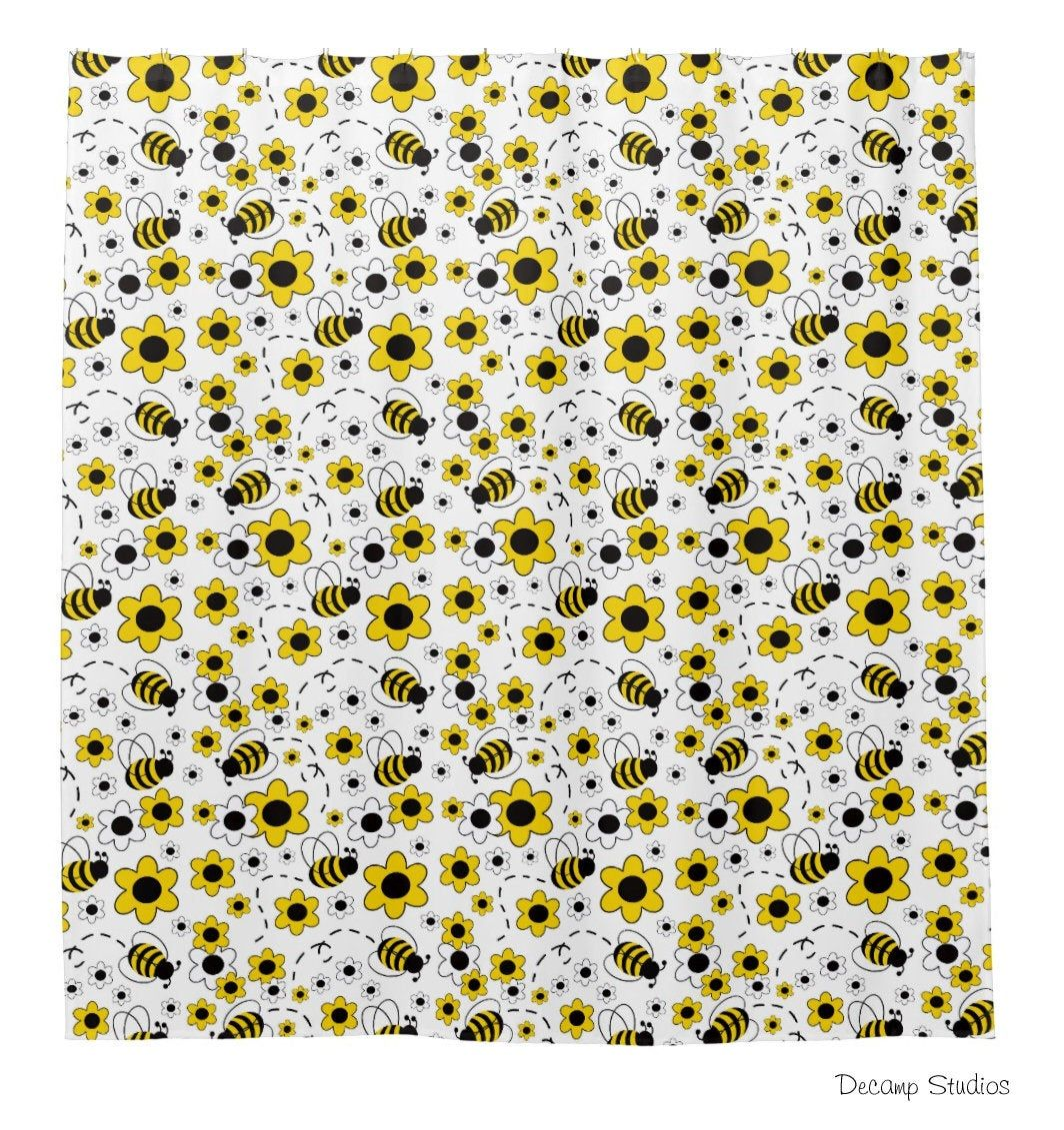 Bumble Bee Shower Curtain Girl Kids Bath Bathroom Floral Room