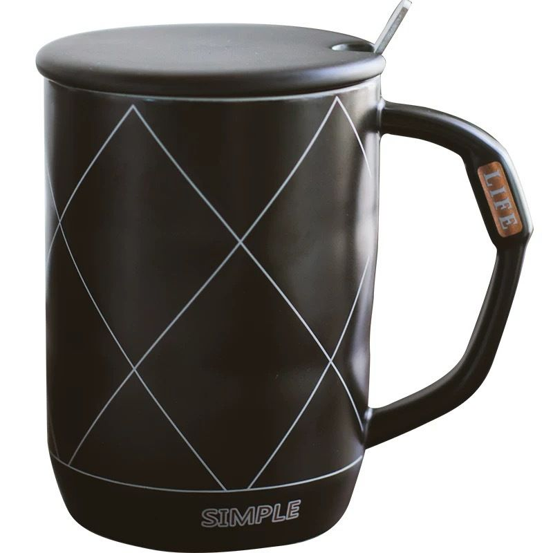 Simple Life Diamond Lattice Black And White Ceramic Coffee Cup Business Cup In 2020 Ceramic Coffee Cups Coffee Cup Business Ceramic Cups