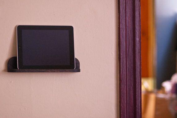 Solid Oak Wooden Ipad Tablet Wall Mount Shelf Holder Stand