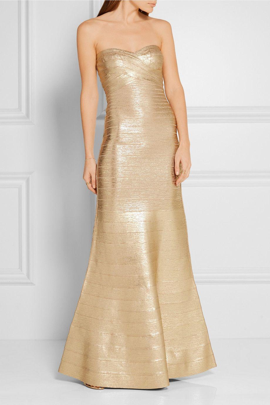 HervÉ lÉger sara strapless metallic bandage gown fashion lust