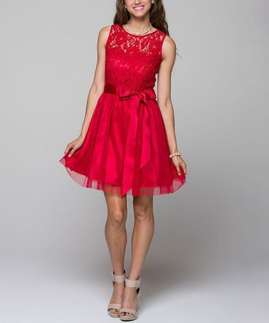 Look what I found on #zulily! Red Lace Fit & Flare Dress #zulilyfinds