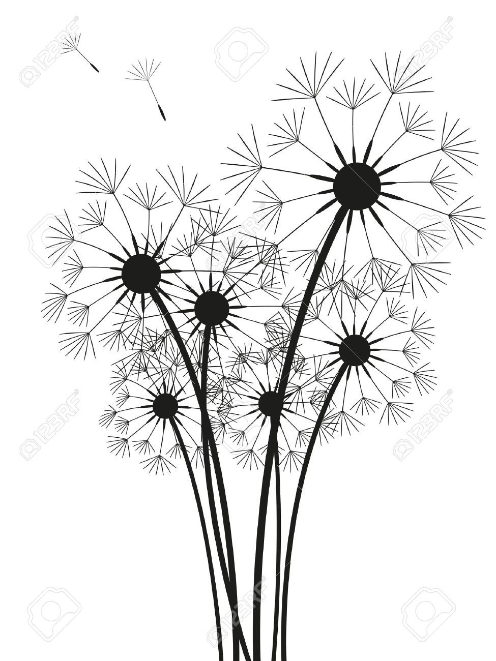 Dandelions Silhouette Isolated On White Dandelion Art Silhouette Art Dandelion