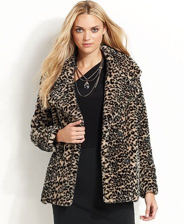 DKNY Jeans Coat, Long-Sleeve Animal-Print Faux-Fur