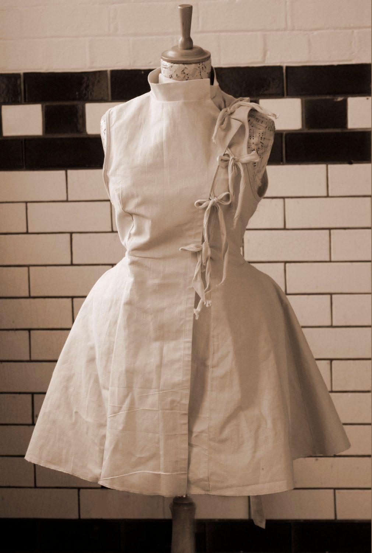 White apron doctors - Unbleached Cotton Steampunk Style Apron Lab Coat Fencing Jacket
